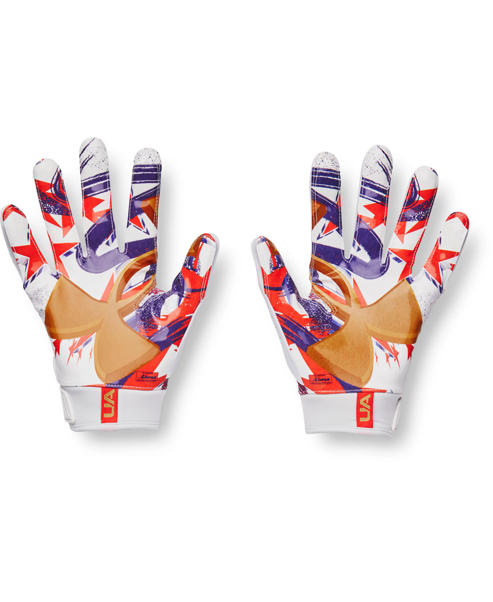UA Blur LE Herren American Football Handschuhe White/Rocket Red