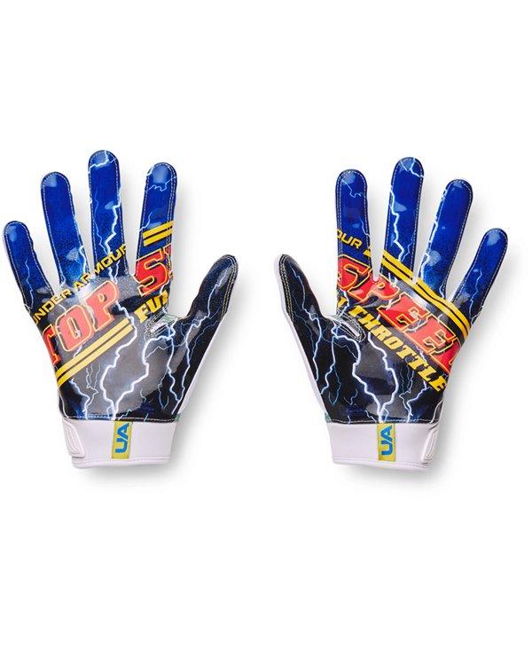 UA Blur LE Gants Football Américain Homme White/Blue Circuit