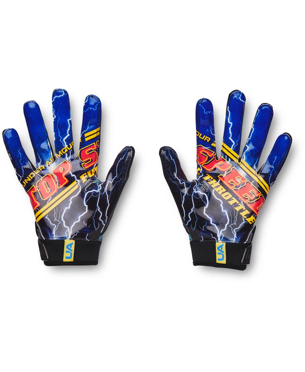 UA Blur LE Herren American Football Handschuhe Black/Blue Circuit