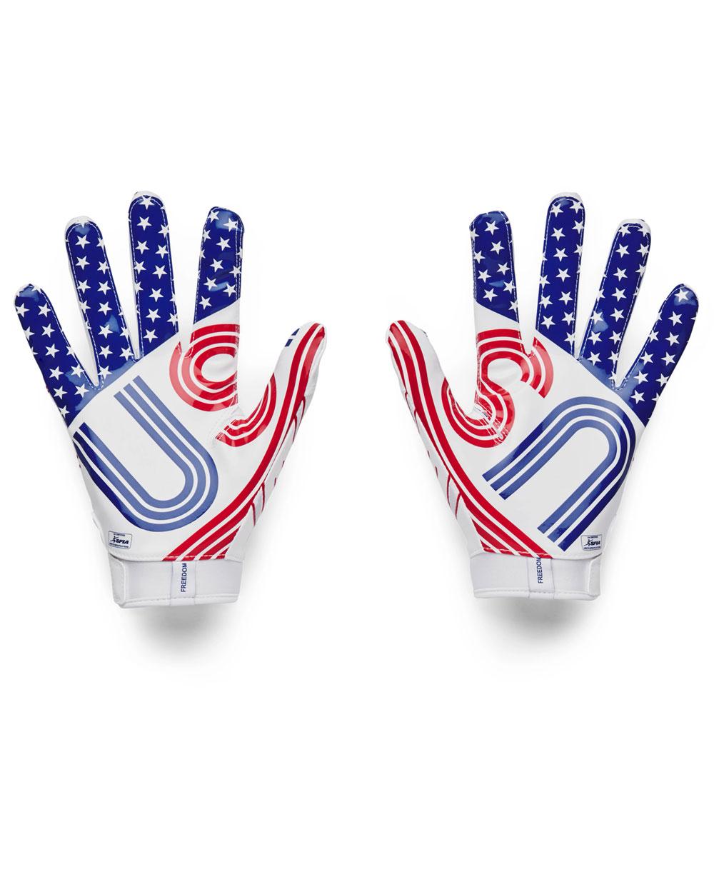 UA F7 Graphic Herren American Football Handschuhe White/Royal