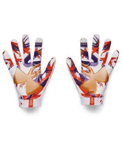 UA F7 Graphic Herren American Football Handschuhe White/Metallic Faded Gold