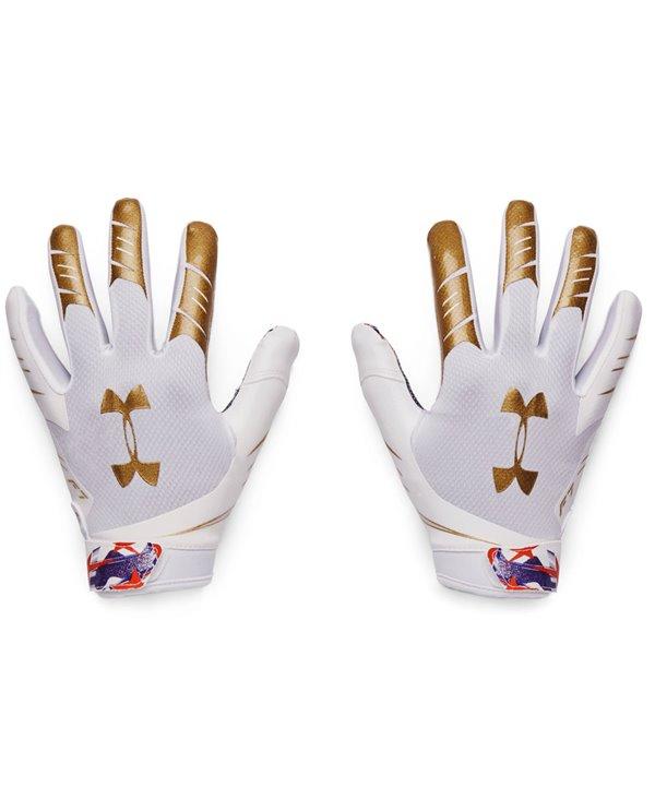 UA F7 Graphic Men's Football Gloves White/Metallic Faded Gold