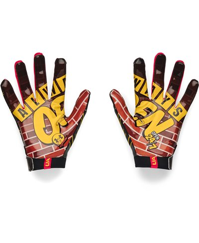 UA F7 Graphic Gants Football Américain Homme Black/Metallic Silver