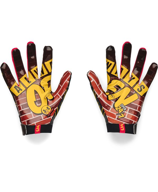 UA F7 Graphic Herren American Football Handschuhe Black/Metallic Silver