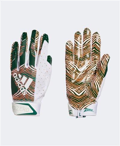 Adizero 9.0 Zubaz Herren American Football Handschuhe White/Green