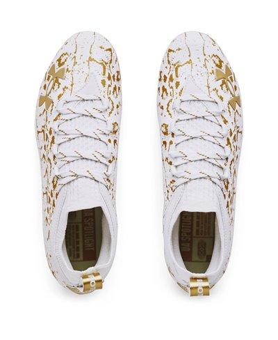 Spotlight Lux Suede 2.0 Zapatos de Fútbol Americano para Hombre White/Metallic Gold