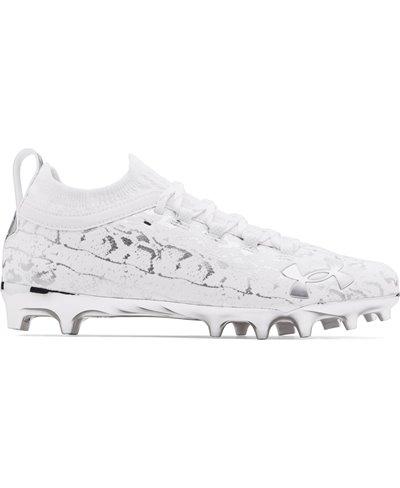 Men's Spotlight Lux Suede 2.0 American Football Cleats White/Metallic Silver