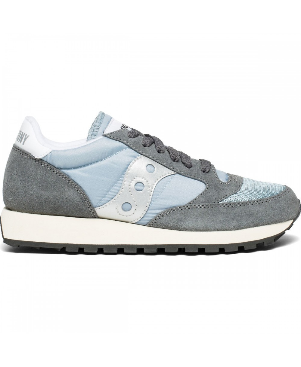 Saucony Jazz sneaker in black and white suede and nylon